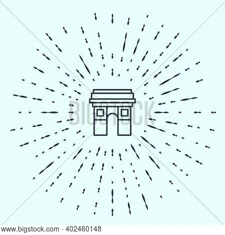 Black Line Triumphal Arch Icon Isolated On Grey Background. Landmark Of Paris, France. Abstract Circ