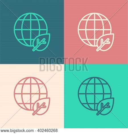 Pop Art Line Earth Globe And Leaf Icon Isolated On Color Background. World Or Earth Sign. Geometric