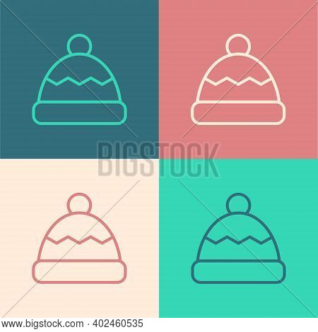 Pop Art Line Beanie Hat Icon Isolated On Color Background. Vector