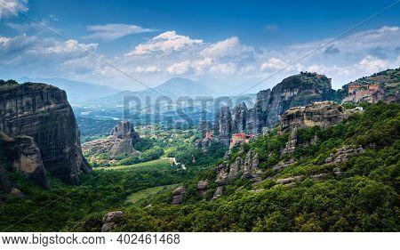 View On Massive Rocky Pillars Of Meteora, Thessaly, Greece. Nunnery Of Moni Agias Varvaras Roussanou