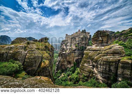 Great Meteoron Monastery In Rocky Landscape, Meteora Valley, Greece, Unesco World Heritage, Mountain