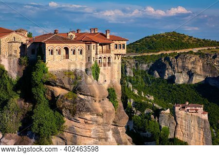 Close View, Varlaam Monastery, Evening Sun, Meteora, Greece, Typical Landscape Of Rocks, Moni Agias
