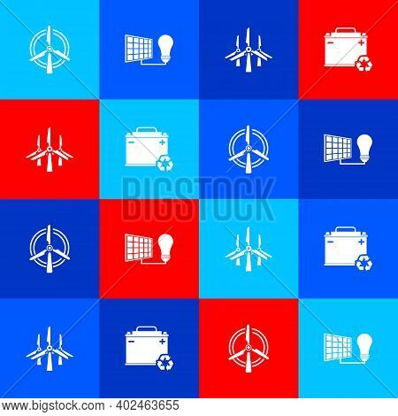 Set Rotating Wind Turbine, Solar Energy Panel And Light Bulb, Wind Turbines And Car Battery With Rec