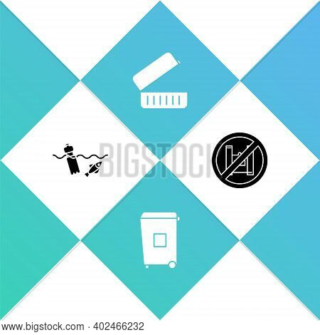 Set Problem Pollution Of The Ocean, Trash Can, Lunch Box And Say No To Plastic Bags Poster Icon. Vec