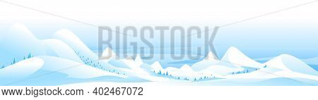 Snow-capped Mountain Peaks Winter Nature Landscape Panorama, Beautiful Winter Day On Snowy Hills, Qu