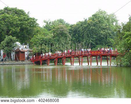 Hanoi, Vietnam, June 16, 2016: Red Access Bridge To Ngoc Son Temple. Hanoi