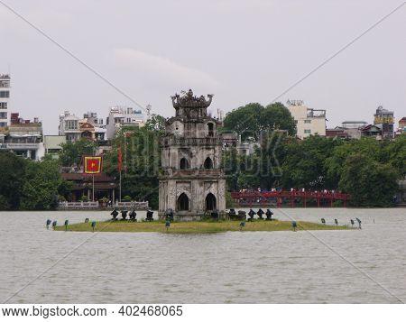 Hanoi, Vietnam, June 16, 2016: Pagoda In The Middle Of Hoan Kiem Lake In Hanoi