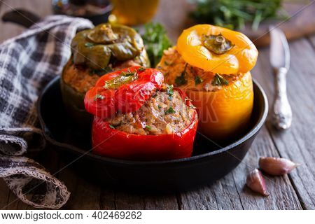 Bell Peppers With Meat And Parsley , Stuffed Vegetables