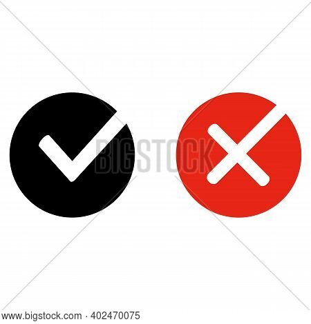 Check Mark Cross Exclamation Circle Sign. Isolated Elements. Check Mark Icon Sign. Green Red Yellow