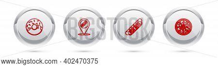 Set Line Donut, Location With Hotdog, Hotdog Sandwich And Pizza. Silver Circle Button. Vector