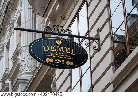 Vienna, Austria - Decembter 19 2020: Demel Confectioner Street Sign, The Famous Purveyor And Warrant