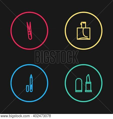 Set Line Eyeliner, Eyebrow, Lipstick, Perfume And Eyebrow Tweezers Icon. Vector