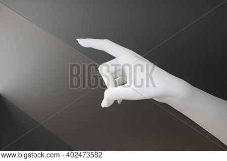 White Hand Touches Ray Of Light. 3d Rendering