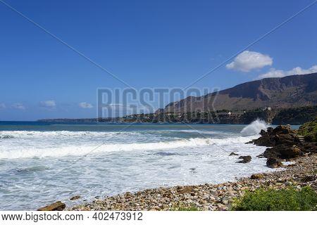 Beautiful View Of The Sicilian Sea In Castellammare Del Golfo
