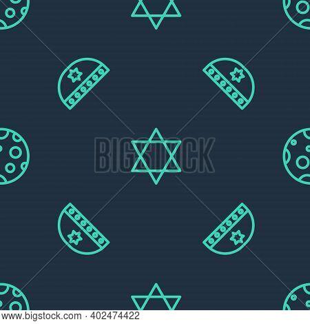 Set Line Star Of David, Jewish Kippah With Star David And Moon On Seamless Pattern. Vector