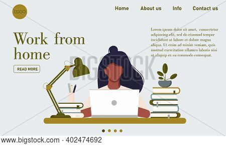 Web Page Template With Young Woman Working At Home. Freelance, Work At Home, Online Job And Home Off