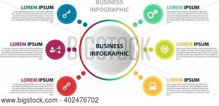 Cyclic Diagram Infographic With Circles. Modern Infographic Design Template With 6 Options, Steps Or