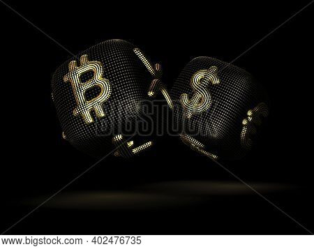 Digital 3d Dices With Cryptocurrency And Fiat Currency Golden Signs Bitcoin And Dollar. Black Backgr
