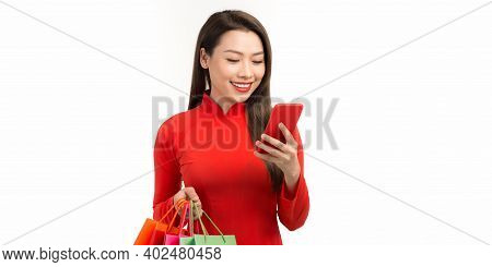 Asian Woman Wearing Vietnamese Ao Dai Dress With Mobile Smartphone Shopping Online Technology Holdin