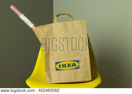 Moscow, Russia - 5 December 2020: Ikea Package With Goods, Paper Bag With Ikea Logo, Illustrative Ed