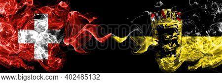 Switzerland, Swiss Vs Germany, German, Deutschland, Baden Wurttemberg Smoky Mystic Flags Placed Side