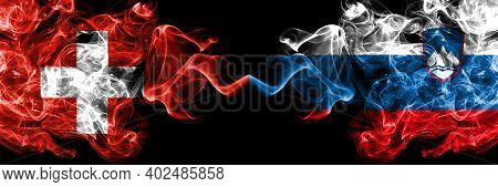 Switzerland, Swiss Vs Slovenia, Slovenian Smoky Mystic Flags Placed Side By Side. Thick Colored Silk