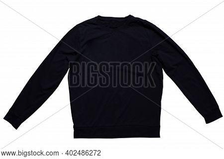Black Sweatshirt Mock Up Isolated On White Background. Black Sweatshirt Design Template Over White