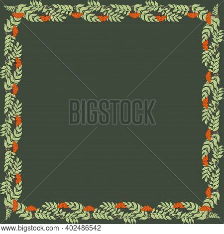 Vintage Square Frame With Rowanberry. Art Nouveau Style. Vector.