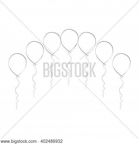 Outline Balloons Arch. Birthday Baloons For Party And Celebrations. Isolated On White Background. Ve