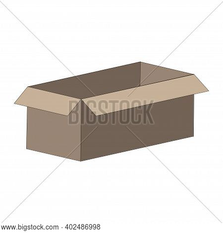 Carton Box Color Illustration Isolated On White Background. Vector.