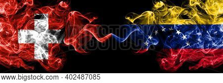 Switzerland, Swiss Vs Venezuela Smoky Mystic Flags Placed Side By Side. Thick Colored Silky Abstract