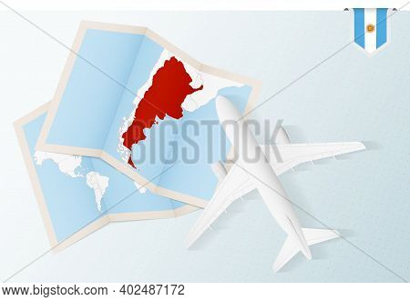 Travel To Argentina, Top View Airplane With Map And Flag Of Argentina. Travel And Tourism Banner Des