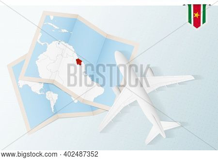 Travel To Suriname, Top View Airplane With Map And Flag Of Suriname. Travel And Tourism Banner Desig