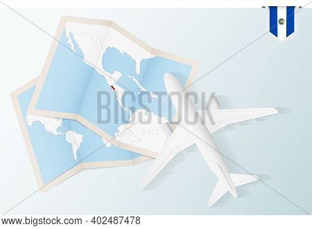 Travel To El Salvador, Top View Airplane With Map And Flag Of El Salvador. Travel And Tourism Banner