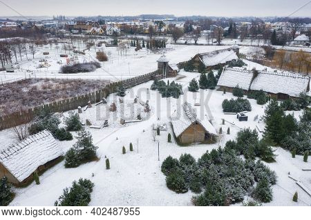 Snowy winter over the amber trade settlement in Pruszcz Gdanski, Poland.