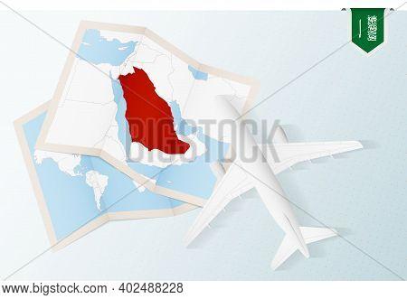Travel To Saudi Arabia, Top View Airplane With Map And Flag Of Saudi Arabia. Travel And Tourism Bann