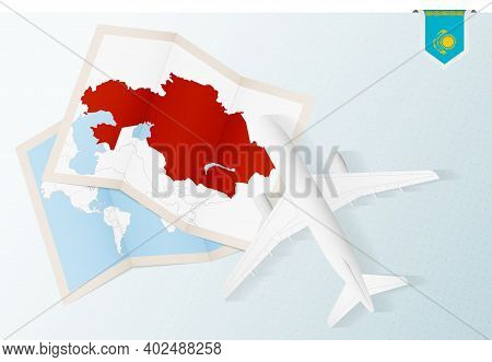 Travel To Kazakhstan, Top View Airplane With Map And Flag Of Kazakhstan. Travel And Tourism Banner D