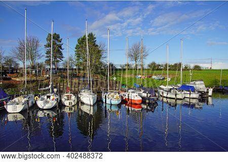 Veere, The Netherlands - Januari 2, 2021: Dutch Pleasure Boat In The Harbor Of Veere.
