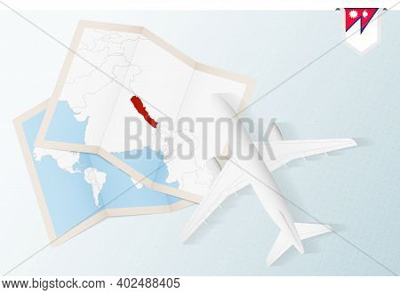 Travel To Nepal, Top View Airplane With Map And Flag Of Nepal. Travel And Tourism Banner Design.