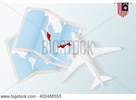 Travel To Malaysia, Top View Airplane With Map And Flag Of Malaysia. Travel And Tourism Banner Desig