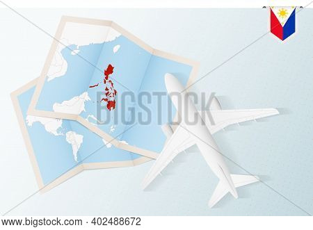 Travel To Philippines, Top View Airplane With Map And Flag Of Philippines. Travel And Tourism Banner
