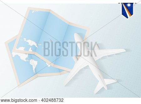 Travel To Marshall Islands, Top View Airplane With Map And Flag Of Marshall Islands. Travel And Tour