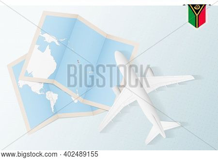 Travel To Vanuatu, Top View Airplane With Map And Flag Of Vanuatu. Travel And Tourism Banner Design.