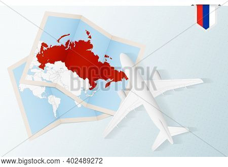 Travel To Russia, Top View Airplane With Map And Flag Of Russia. Travel And Tourism Banner Design.