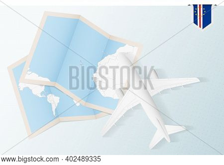 Travel To Cape Verde, Top View Airplane With Map And Flag Of Cape Verde. Travel And Tourism Banner D