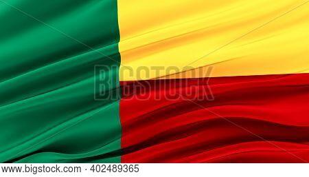 Republic Of Benin. Waving Fabric Flag Of Benin, Silk Flag Of Benin. 3d Render