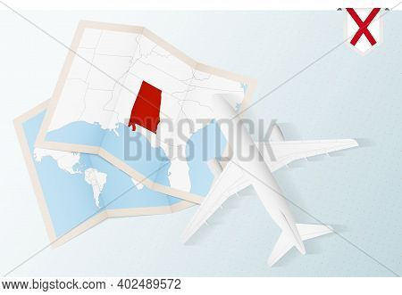 Travel To Alabama, Top View Airplane With Map And Flag Of Alabama. Travel And Tourism Banner Design.