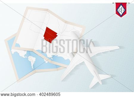 Travel To Arkansas, Top View Airplane With Map And Flag Of Arkansas. Travel And Tourism Banner Desig