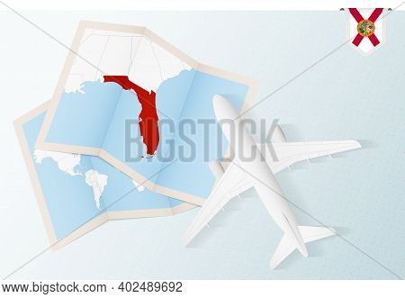 Travel To Florida, Top View Airplane With Map And Flag Of Florida. Travel And Tourism Banner Design.