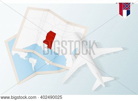 Travel To Mississippi, Top View Airplane With Map And Flag Of Mississippi. Travel And Tourism Banner
